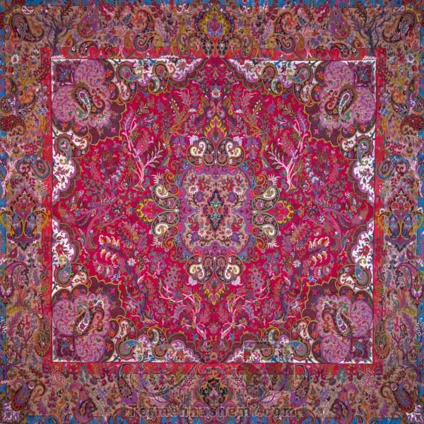 رومیزی ترمه طرح سپهسالار - مربع 100×100 سانتی متر - رنگ قرمز تار مشکی