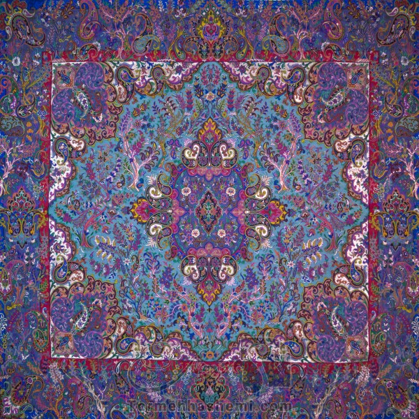 رومیزی ترمه طرح سپهسالار - مربع 100×100 سانتی متر - رنگ سبزآبی تار مشکی