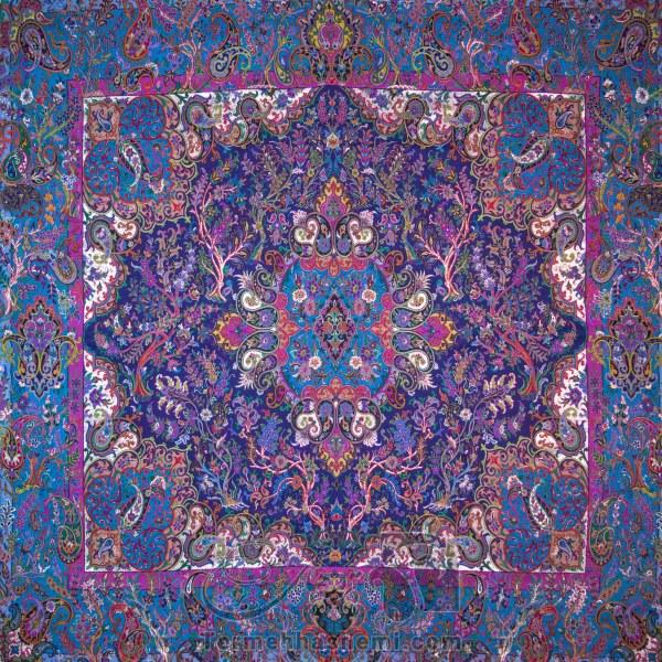 رومیزی ترمه طرح سپهسالار - مربع 100×100 سانتی متر - رنگ سرمه ای تار مشکی
