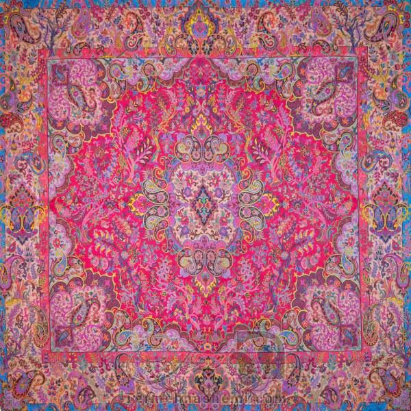رومیزی ترمه طرح سپهسالار - مربع 100×100 سانتی متر - رنگ قرمز مات تار مشکی