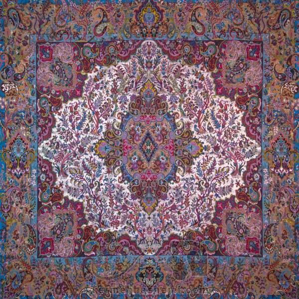 رومیزی ترمه طرح سپهسالار - مربع 100×100 سانتی متر - رنگ لمه طلایی تار مشکی