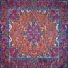 رومیزی ترمه طرح سپهسالار - مربع 100×100 سانتی متر - رنگ نارنجی تار مشکی