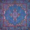 رومیزی ترمه طرح سپهسالار - مربع 100×100 سانتی متر - رنگ فیروزه ای تار مشکی