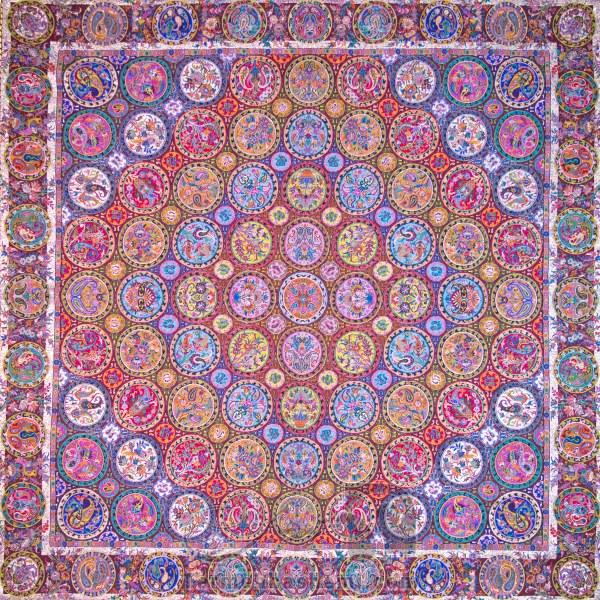 رومیزی ترمه طرح هفت خوان - مربع ۱۰۰×۱۰۰ سانتی متر - رنگ زرشکی تار مشکی
