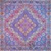 رومیزی ترمه طرح هفت خوان - مربع ۱۰۰×۱۰۰ سانتی متر - رنگ سبزآبی تار مشکی