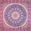 رومیزی ترمه طرح باغ بهشت - مربع 100×100 سانتی متر - رنگ مشکی تار مشکی