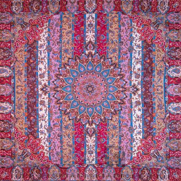 رومیزی ترمه طرح الوان - مربع ۱۰۰×۱۰۰ سانتی متر - رنگ قرمز تار مشکی