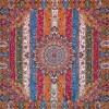 رومیزی ترمه طرح الوان - مربع ۱۰۰×۱۰۰ سانتی متر - رنگ نارنجی تار مشکی