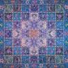رومیزی ترمه طرح خشتی - مربع 100×100 سانتی متر - رنگ فیروزه ای تار مشکی