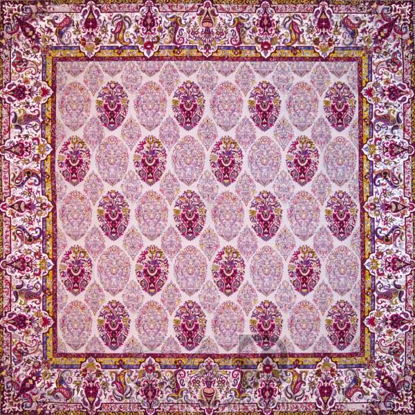رومیزی ترمه طرح ظل السلطان - مربع ۱۰۰×۱۰۰ سانتی متر - رنگ کرم کم رنگ تار مشکی