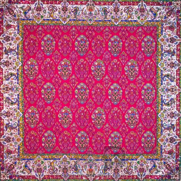 رومیزی ترمه طرح ظل السلطان - مربع ۱۰۰×۱۰۰ سانتی متر - رنگ قرمز تار مشکی