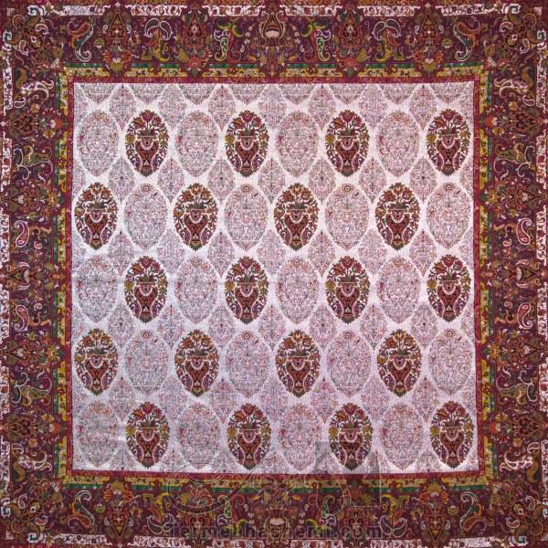 رومیزی ترمه طرح ظل السلطان - مربع ۱۰۰×۱۰۰ سانتی متر - رنگ لمه طلایی تار مشکی