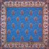رومیزی ترمه طرح ظل السلطان - مربع ۱۰۰×۱۰۰ سانتی متر - رنگ فیروزه ای تار مشکی
