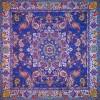رومیزی ترمه طرح شهریار - مربع 100×100 سانتی متر - رنگ سرمه ای تار مشکی