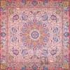 رومیزی ترمه طرح شهریار - مربع 100×100 سانتی متر - رنگ کرم کم رنگ تار سفید