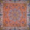 رومیزی ترمه طرح شهریار - مربع 100×100 سانتی متر - رنگ نارنجی تار مشکی
