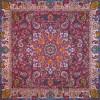 رومیزی ترمه طرح شهریار - مربع 100×100 سانتی متر - رنگ زرشکی تار مشکی