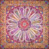 رومیزی ترمه طرح سلجوقی -  مربع 100×100 سانتی متر - رنگ کرم کم رنگ تار مشکی