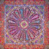 رومیزی ترمه طرح سلجوقی - مربع 100×100 سانتی متر - رنگ زرشكی تار مشکی