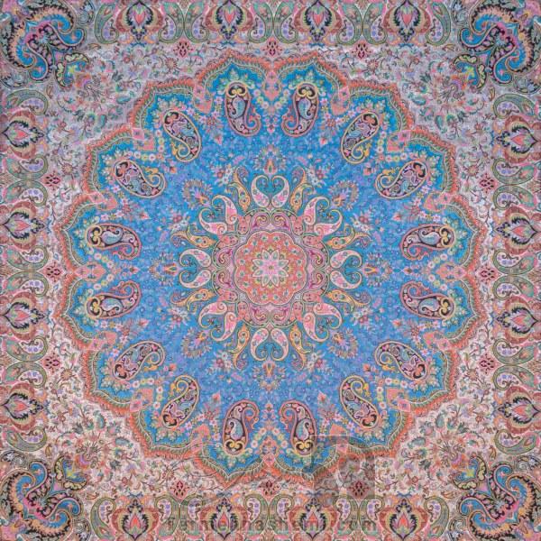 رومیزی ترمه طرح شاهدخت - مربع 100×100 سانتی متر - رنگ فیروزه ای تار سفید