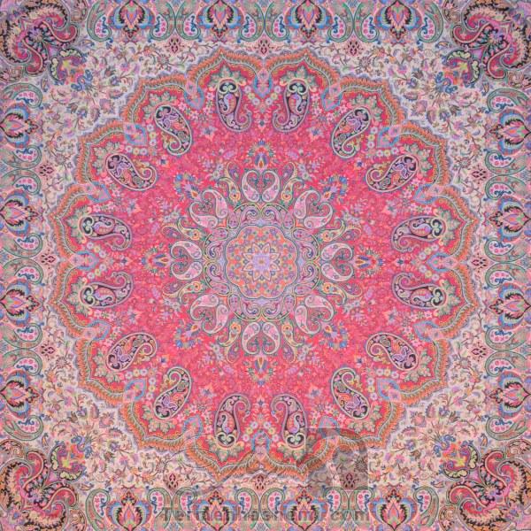 رومیزی ترمه طرح شاهدخت - مربع 100×100 سانتی متر - رنگ قرمز تار سفید