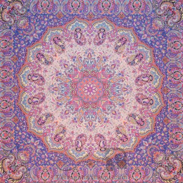 رومیزی ترمه طرح شاهدخت - مربع 100×100 سانتی متر - رنگ کرم کم رنگ تار سفید