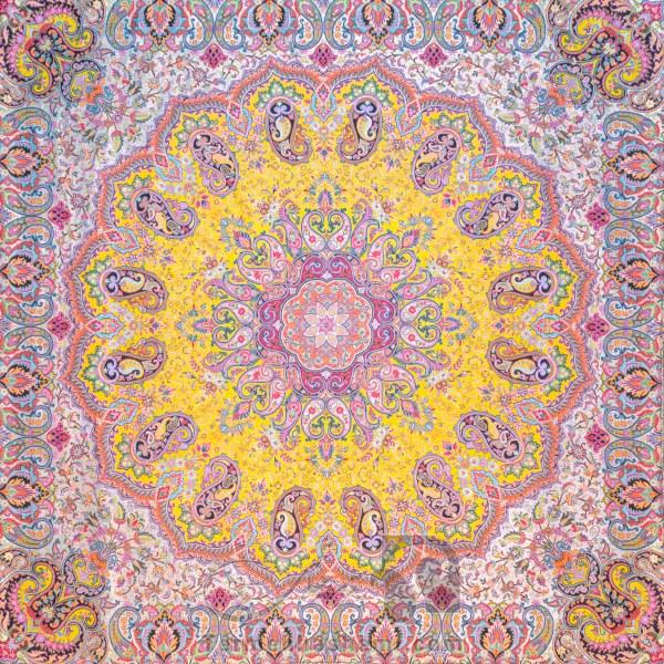 رومیزی ترمه طرح شاهدخت - مربع 100×100 سانتی متر - رنگ زرد تار مشکی