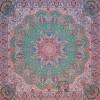 رومیزی ترمه طرح شاهدخت - مربع 100×100 سانتی متر - رنگ سبز کم رنگ تار سفید