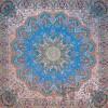 رومیزی ترمه طرح شاهدخت - مربع 100×100 سانتی متر - رنگ فیروزه ای تار مشکی