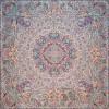 رومیزی ترمه طرح ستایش - مربع 100×100 سانتی متر - رنگ کرم کم رنگ مات تار مشکی