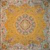 رومیزی ترمه طرح ستایش - مربع 100×100 سانتی متر - رنگ زرد تار مشکی