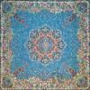رومیزی ترمه طرح ستایش - مربع 100×100 سانتی متر - رنگ فیروزه ای تار مشکی