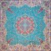رومیزی ترمه طرح ستایش - مربع 100×100 سانتی متر - رنگ زنگاری تار مشکی