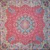 رومیزی ترمه طرح ستایش - مربع 100×100 سانتی متر - رنگ قرمز تار مشکی
