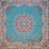 رومیزی ترمه طرح ستایش - مربع 100×100 سانتی متر - رنگ زنگاری مات تار مشکی
