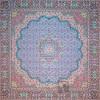 رومیزی ترمه طرح گل ماهی - مربع ۱۰۰×۱۰۰ سانتی متر - رنگ سبزآبی تار مشکی
