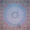 رومیزی ترمه طرح گل ماهی - مربع ۱۰۰×۱۰۰ سانتی متر - رنگ فیروزه ای تار مشکی