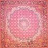 رومیزی ترمه طرح گل ماهی - مربع ۱۰۰×۱۰۰ سانتی متر - رنگ قرمز تار مشکی